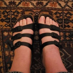 Size 38 Florida Birkenstocks,  black leather